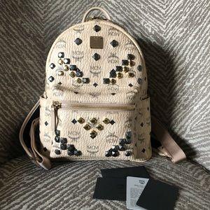 MCM Beige Embellished Small Stark Backpack